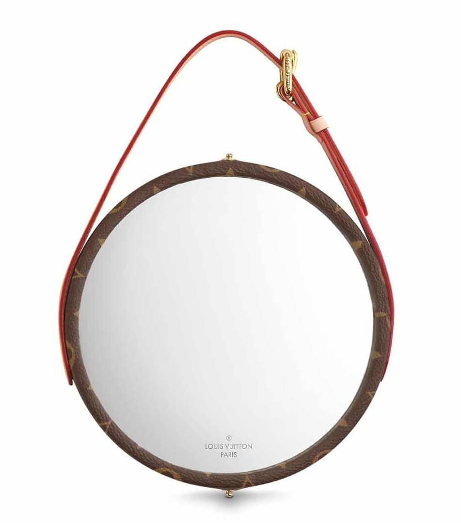 "luxury design  Idee regalo ""luxury"": designer home edition louis vuitton dorian mirror monogram home lifestyle GI0264 PM2 Front view e1544609148687"